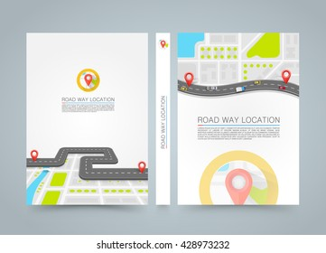 Paved path on the road. banner road book. A4 size paper, Template design element, Vector background