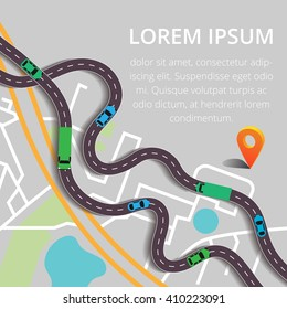 Paved path on the road. Vector background. Road & Street Business Infographic Design Template