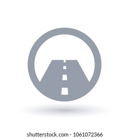 Paved straight road icon. Street symbol. Highway or motorway infrastructure sign in circle. Vector illustration.
