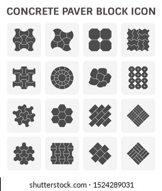 Paver brick icon or brick paving icon. Manufactured from concrete or stone. For creating pavement floor or paved floor at outdoor and space go well with walkway or patio, Vector icon set design.