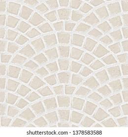 Paving stone. Seamless brick pavement texture background. White bricks. Vector illustration.