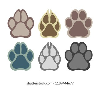 Paw of an animal, canine footprints. Traces of dog paws, dog paws. Trace of the cat, imprint of a tiger's track or lion. Vector illustration.