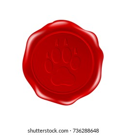 paw of an animal  on wax seal