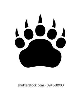 Paw Black Print Icon on White Background. Vector illustration