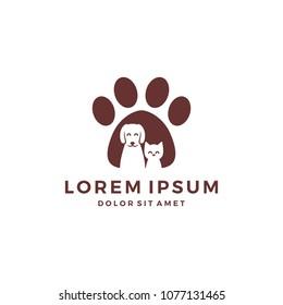 paw dog cat pet logo vector icon