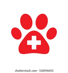 Paw first aid cross icon