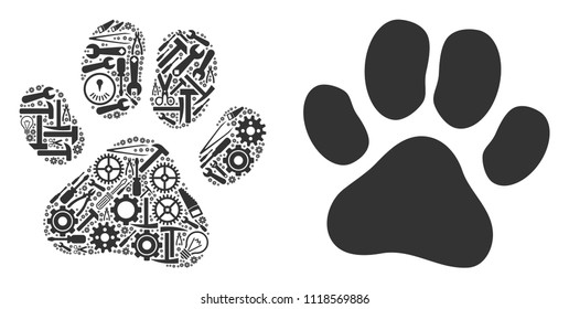 Paw footprint collage of service instruments. Vector paw footprint icon is created of gearwheels, hammers and other service items. Concept of mechanic workshop.