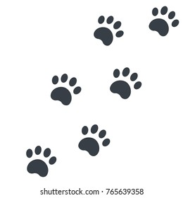 paw footprints on white vector illustration