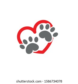 Paw and heart flat icon vector