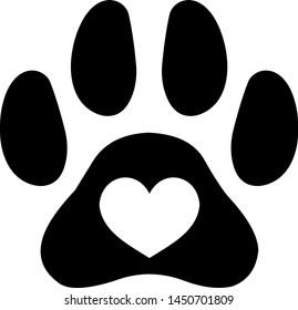 Paw heart  Pawprint Paw print  Pet memorial Dog paw print  I love my dog Dog paw heart  Rescue mom