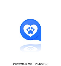paw and heart, pet related vector logo