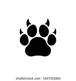 paw icon animal black vector illustration