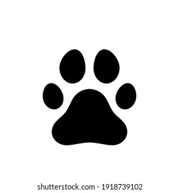 Paw icon. Black print paw trace. Footprint of unknown animal. Vector isolated on a white.