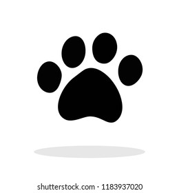 Paw icon in flat style. Paw symbol for your web site design, logo, app, UI Vector EPS 10.