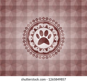 paw icon inside red badge with geometric background. Seamless.