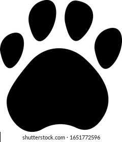 Сute paw icon isolated on white background .Simple composition. Print for textiles and posters of veterinary clinics.  I love animals, my pet, my dog and cat. Flat design. Vector Eps8