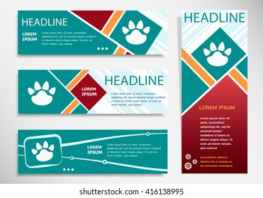 Paw icon on horizontal and vertical banner. Modern abstract flyer, banner, brochure design template.