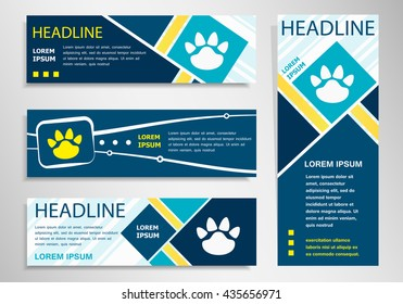 Paw icon on horizontal and vertical banner. Foot symbol abstract banner, flyer design template.