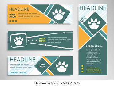 Paw icon on horizontal and vertical discount banner, header. Modern banner design template