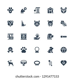 paw icon set. Collection of 25 filled paw icons included Veterinary, Leash, Collar, Dog, Animal, Pet, Pawprint, Paw ribbon, Cat, Dung, Hermit crab, Dog house, Scratching