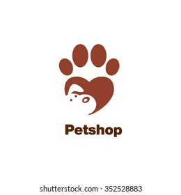 Paw logo template, animal day care and pet shop