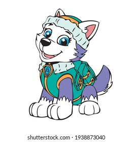 paw patrol eye catching design Colorful vector artwork, Everest dog from cartoon