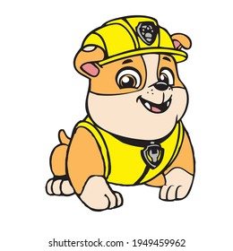 Paw patrol eye catching design Colorful vector dog from cartoon