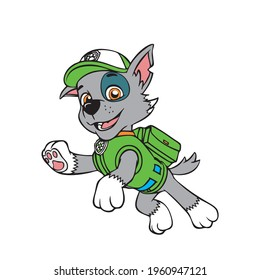 paw patrol eye catching design Colorful vector artwork Rocky dog from cartoon in a jump