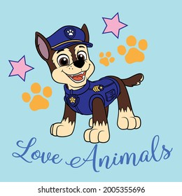 Paw Patrol love animals very happy vectore print design