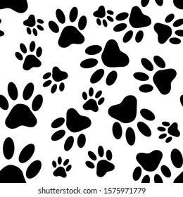 Paw pattern, seamless vector pattern silhouettes of paw, cat's feet, dog's footprint.