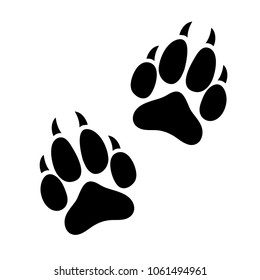Paw print animal dog or cat clawed, silhouette footprints of an animal, flat icon, logo, black traces isolated on white background