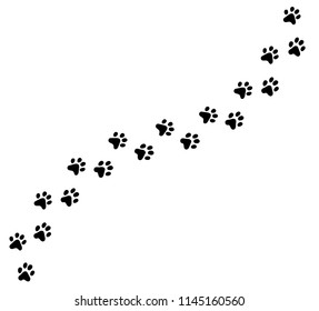 Paw print cat, dog, puppy pet vector cartoon black icon trace. Vector eps cute illustration.