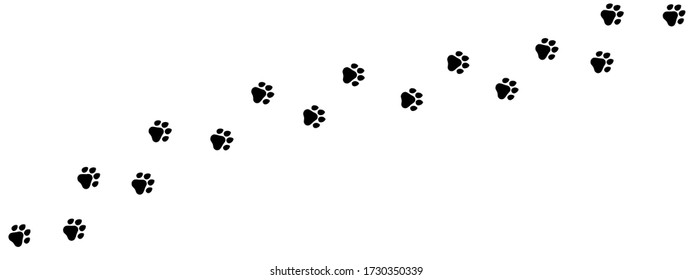 Paw print of dog, cat, puppy pet footprint,  print vector icon