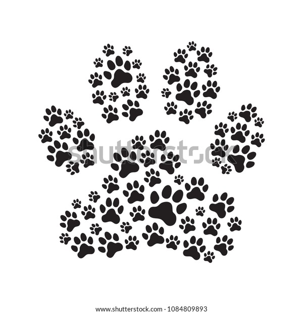 Paw Print Filled Paw Prints Animals Stock Vector (Royalty