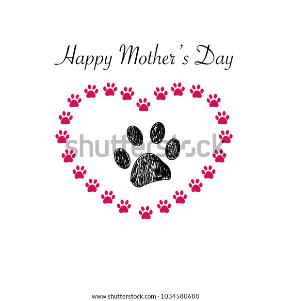 photograph relating to Happy Mothers Day Printable Card named Paw Print Hearts Joyful Moms Working day Inventory Vector (Royalty