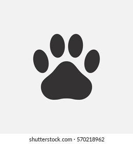 Paw print icon. Footprint of an animal - cat, dog, bear. Vector illustration.