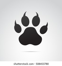Paw print icon isolated on white background. Vector art.