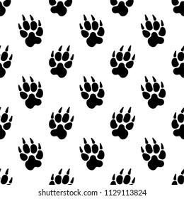 Paw Print Icon Seamless Pattern, Dog, Cat, Fox Foot Imprint Vector Art Illustration