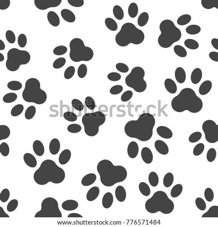 c5bdaab6e04f Paw print icon seamless pattern background. Business flat vector  illustration. Dog, cat,