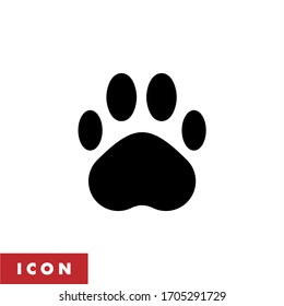 Paw print icon vector. Dog paw icon isolated