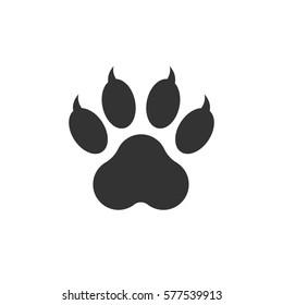 Paw print icon vector illustration isolated on white background. Dog, cat, bear paw symbol flat pictogram.