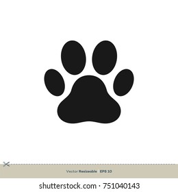 Paw Print Icon Vector Logo Template Illustration Design. Vector EPS 10.