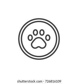 Paw print line icon, outline vector sign, linear style pictogram isolated on white. Symbol, logo illustration. Editable stroke