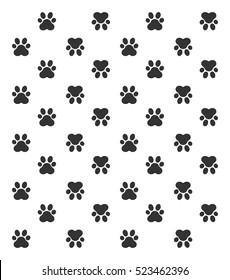 paw print pattern, Vector Illustration.