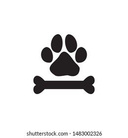 Paw Print Pet and Bone Icon Vector Logo Template