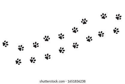 Paw print. Pet footprint in white background. Vector illustration.
