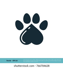 Paw Print Pet Love Icon Vector Logo Template Illustration Design. Vector EPS 10.