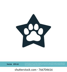 Paw Print Pet Star Icon Vector Logo Template Illustration Design. Vector EPS 10.