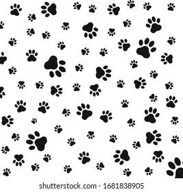Paw print seamless logo icon vector illustration