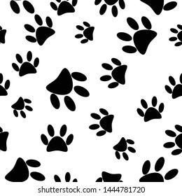Paw print seamless pattern background icon.